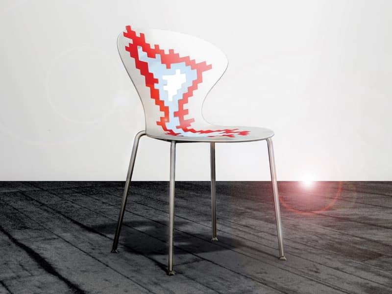 Sedie metallo con seduta plastica, per sala conferenze  IDFdesign