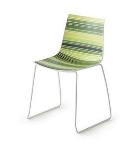 Colorfive S, Sedia design con gambe metallo, base a slitta in metallo