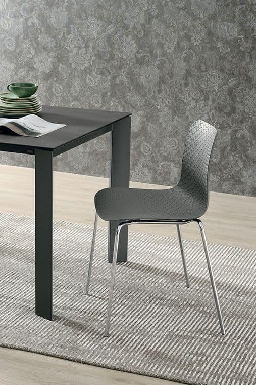 Sedia con struttura in metallo seduta e schienale in for Sedie stile moderno