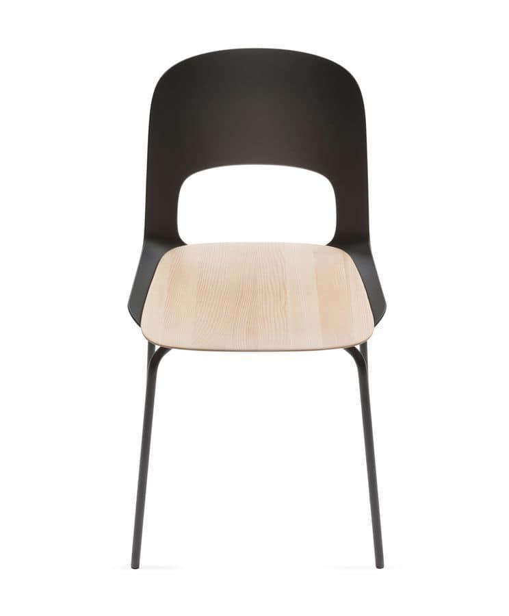 Sedia leggera con schienale in poliammide e base in for Sedie cucina metallo