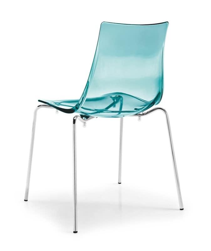 Jazz, Sedia in metallo con seduta in plastica trasparente