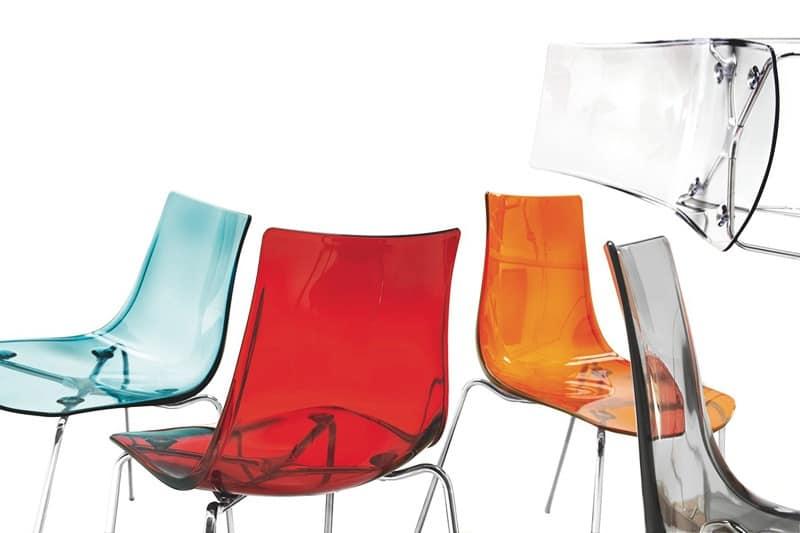 Sedie Di Plastica Trasparenti : Sedia in metallo con seduta in plastica trasparente idfdesign