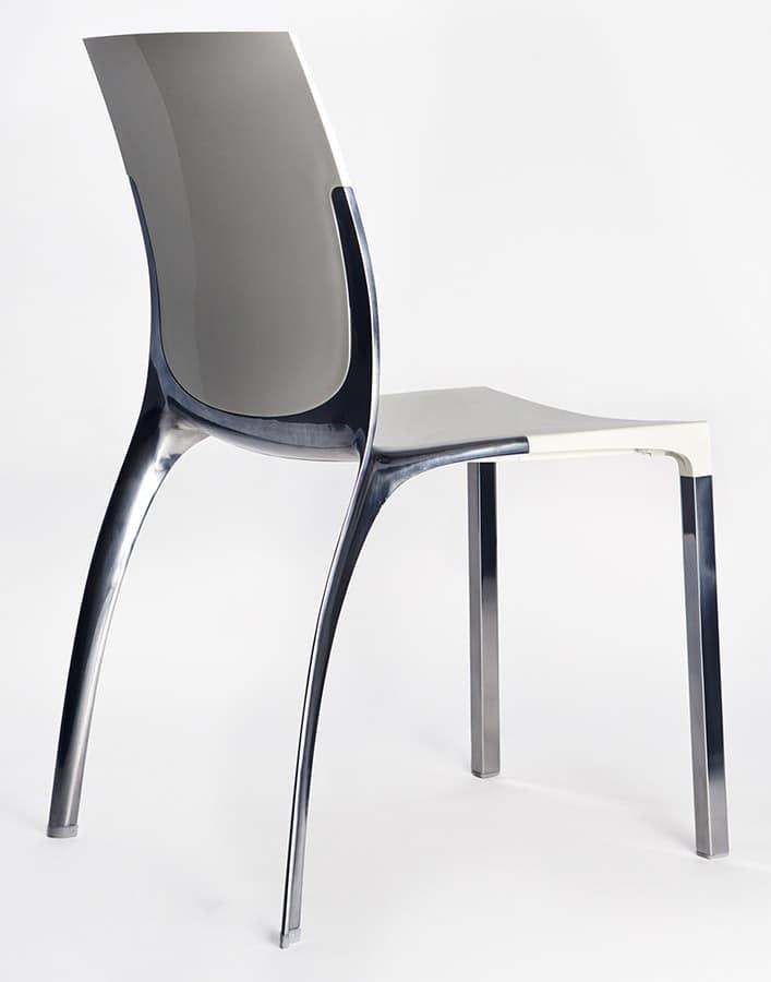 Sedia impilabile in metallo e policarbonato | IDFdesign
