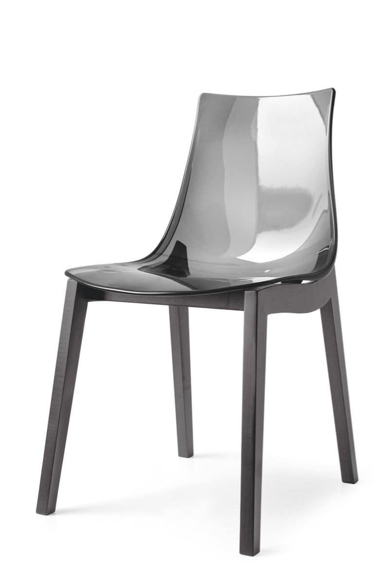 Sedia in faggio scocca in plastica per la casa e i bar idfdesign - Sedie plastica design ...