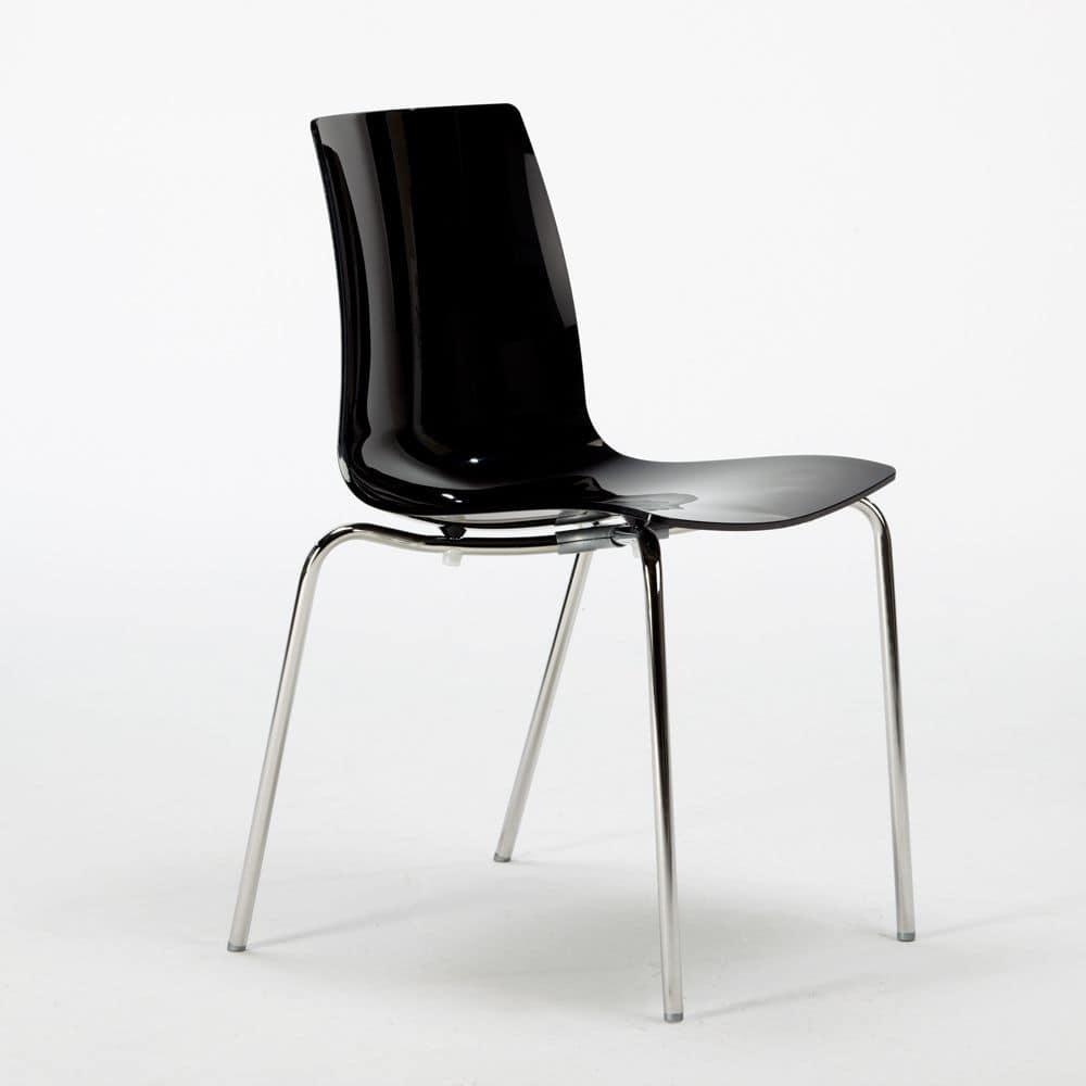 Sedia impilabile senza braccioli in policarbonato gambe in acciaio cromato idfdesign - Sedie plastica design ...