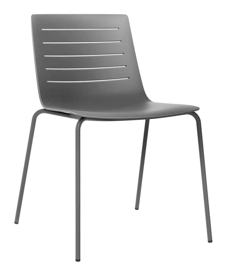 Sedia in metallo e plastica adatta per bar e cucine for Sedie plastica moderne