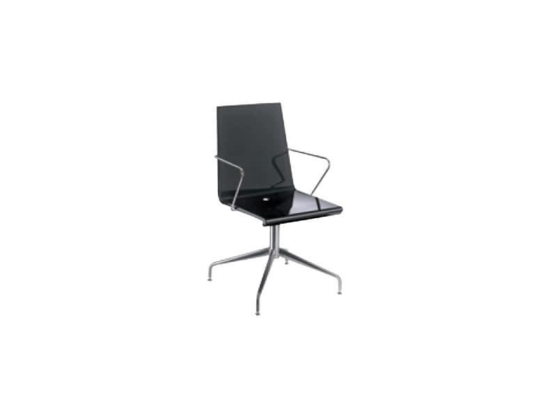 Sedie In Metallo E Plastica : Sedia con braccioli in metallo e plastica finitura lucida