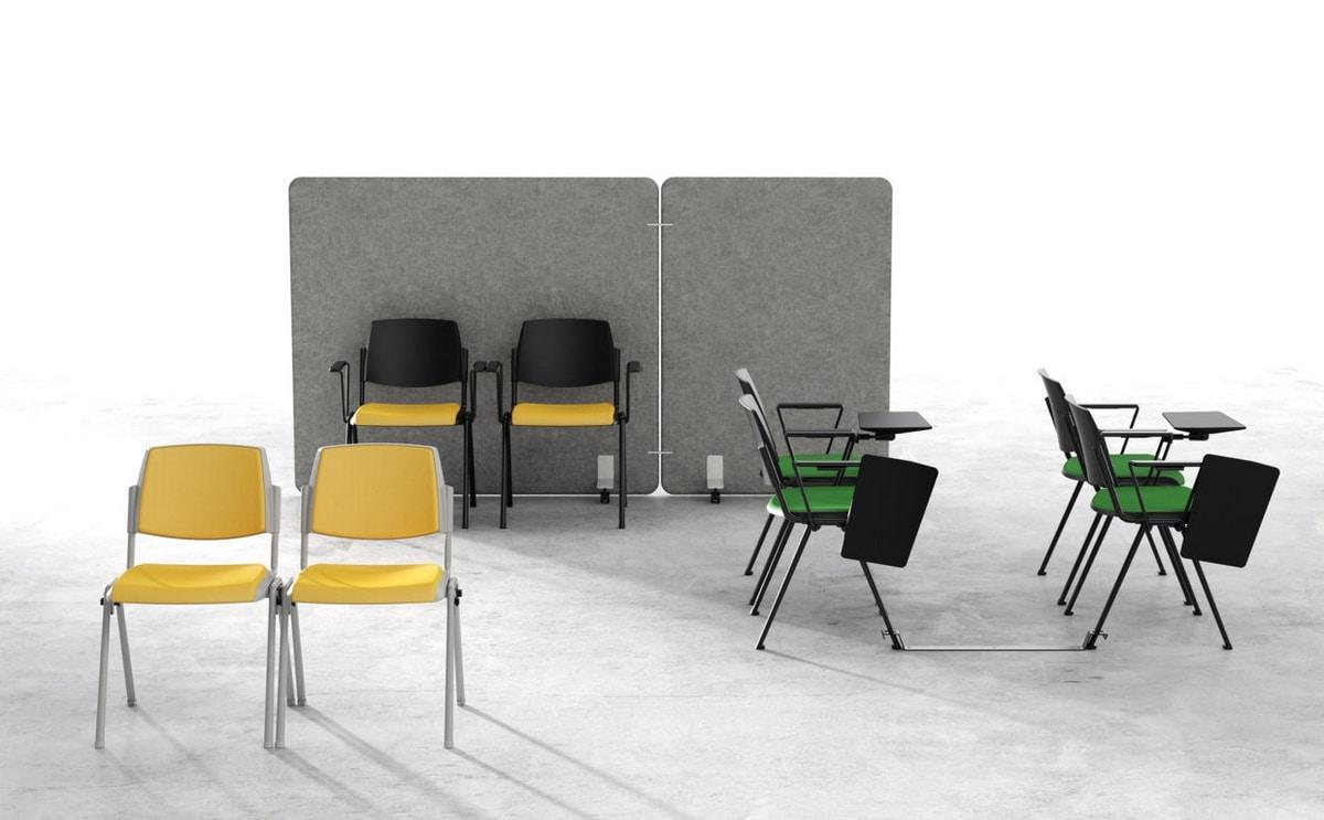 Wampa, Sedia ignifuga in metallo e plastica per aula conferenze