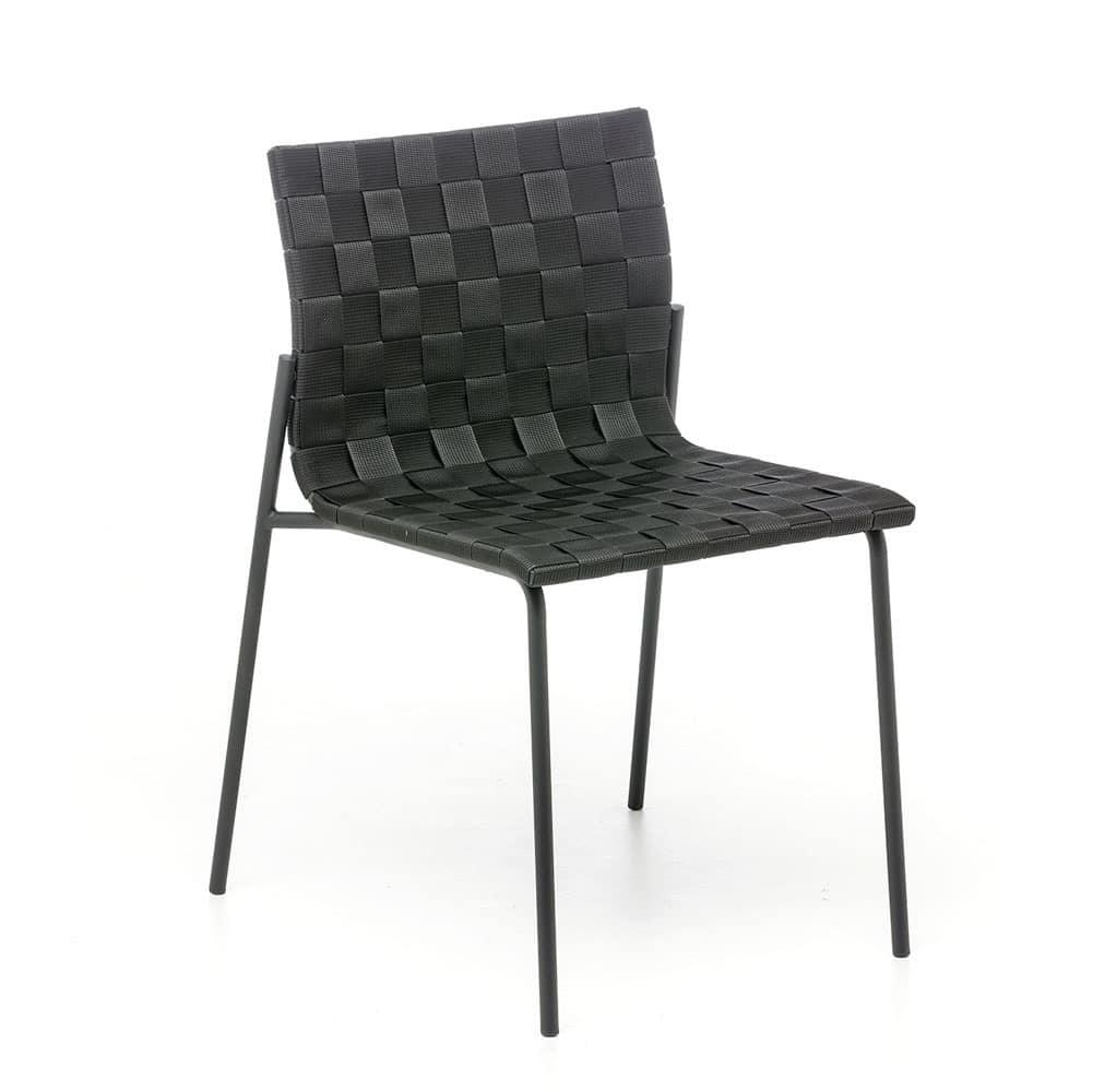 Sedia in acciaio con intreccio in polipropilene anche per for Sedie outdoor design