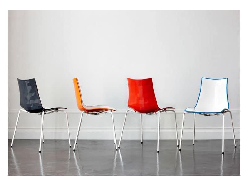 Sedia bicolore in plastica con struttura in acciaio - Sedie design plastica ...