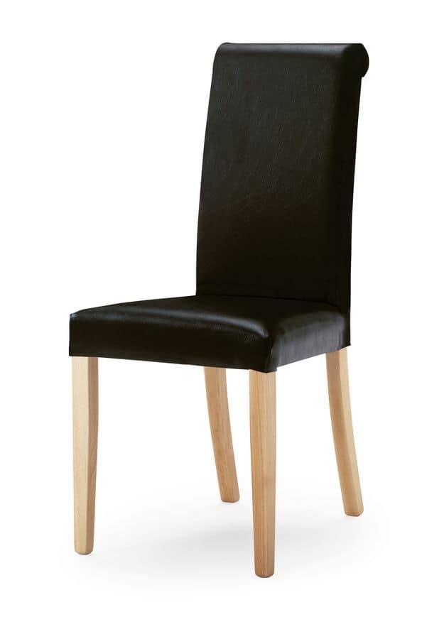 0320/R, Sedia imbottita con schienale alto, gambe in legno