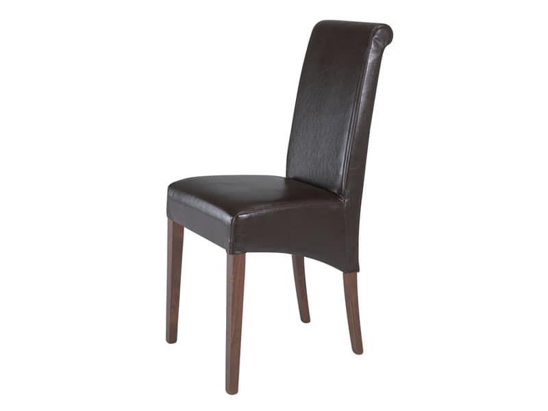 0323, Sedia completamente imbottita per ristorante, con schienale alto
