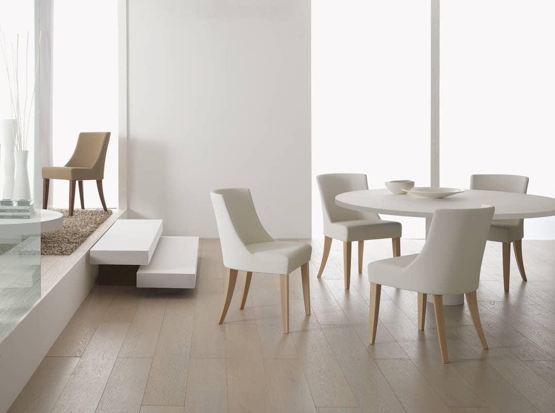 Sedia imbottito in schiumato per sale da pranzo idfdesign for Sedie di design in legno