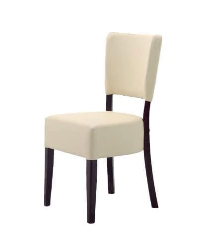 301, Sedia minimalista in legno, imbottita, per ristoranti