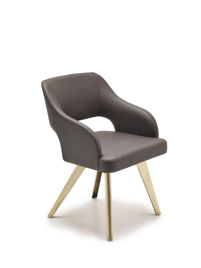 Adria, Seduta moderna con scocca imbottita, gambe in ferro