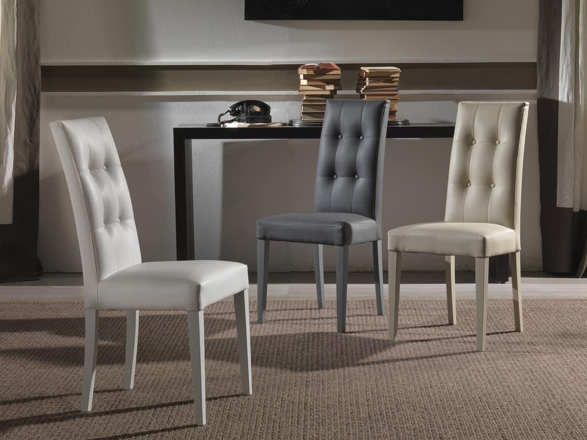 Sedia imbottita con schienale capitonn per alberghi e ristoranti idfdesign - Sedie moderne sala da pranzo ...