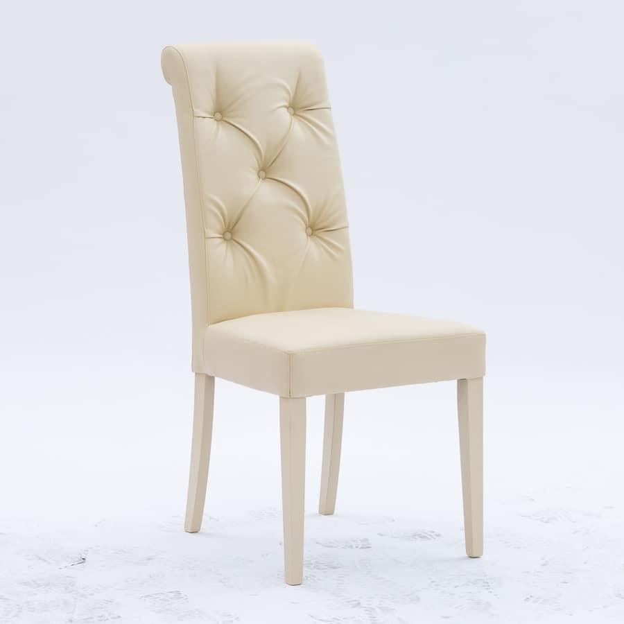 Elegante sedia per sala da pranzo, schienale capitonné ...