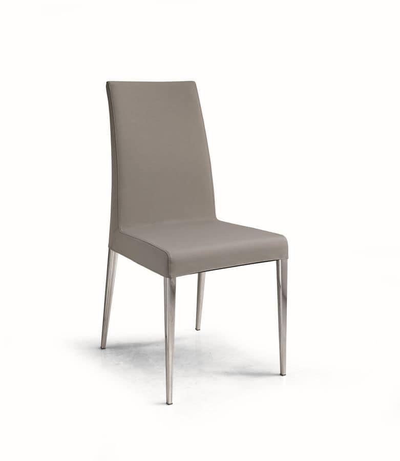 Sedia imbottita con schienale alto in tessuto o pelle for Sedie imbottite moderne