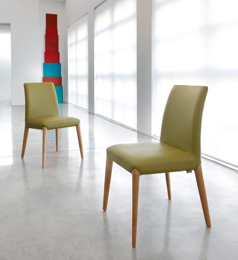 sedia in legno imbottitura in pelle o tessuto idfdesign
