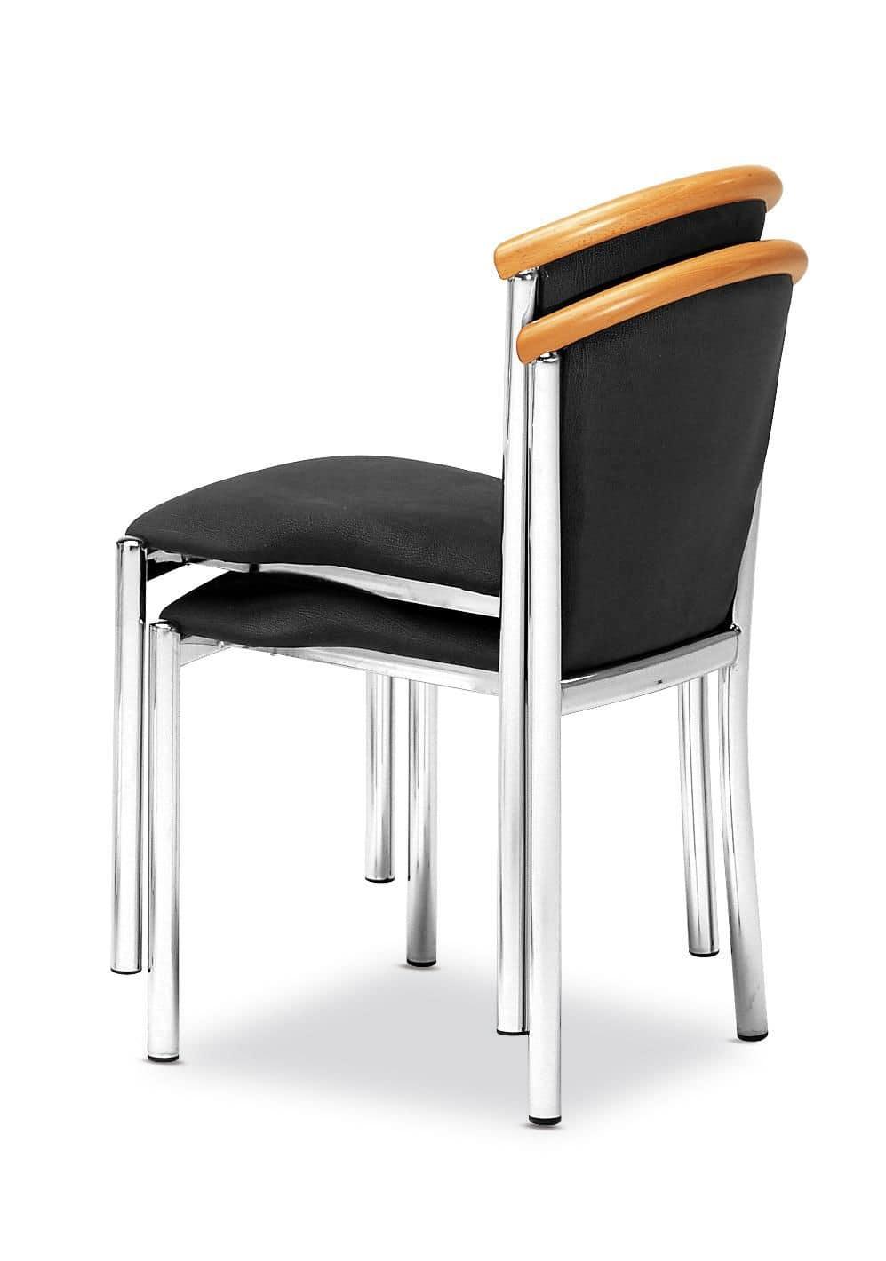 Art.Dolly, Sedia con struttura in acciaio cromato, seduta e schienale imbottiti, copertura in tessuto, per ambienti contract e domestici