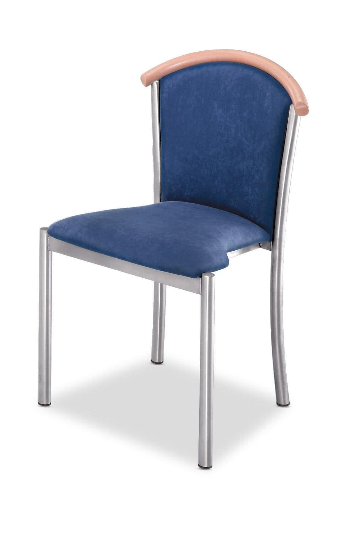 Sedia con struttura in acciaio cromato seduta e schienale for Sedie imbottite grigie