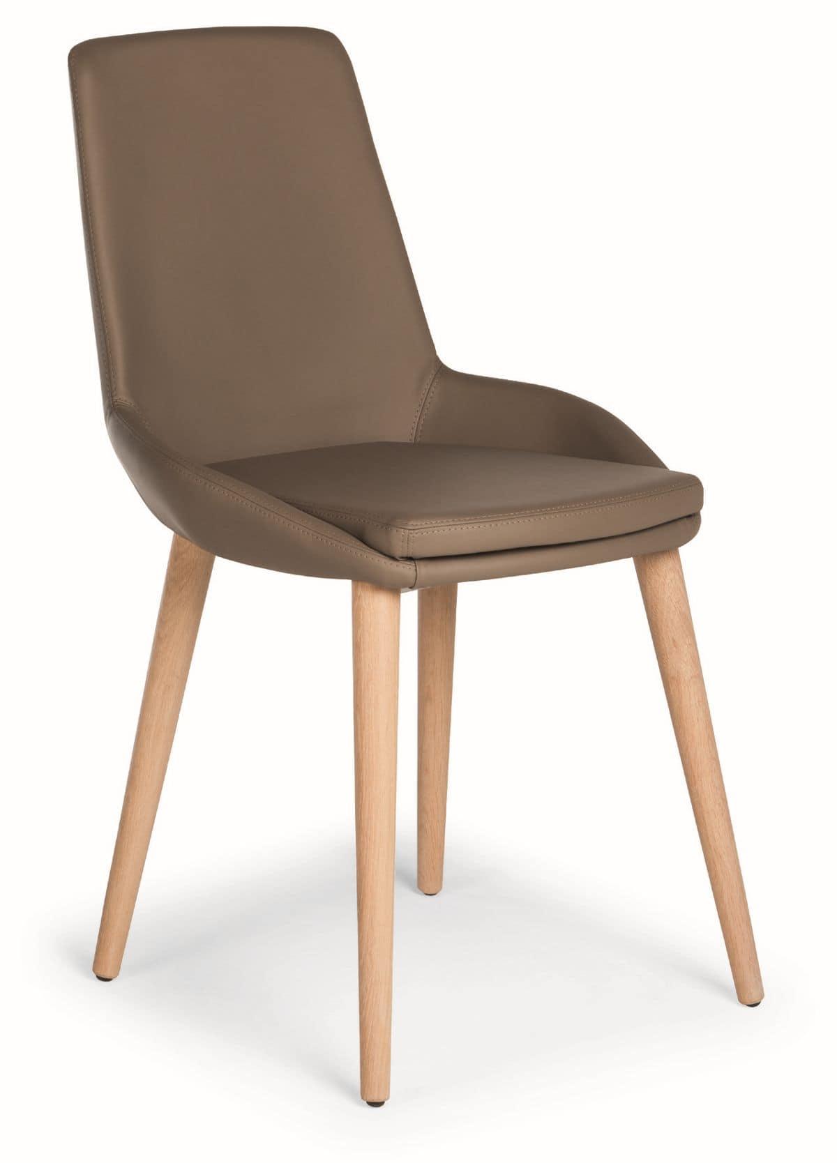 Sedia con gambe in legno e scocca imbottita con for Rivestimento sedie