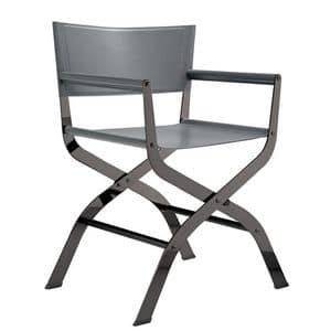 Ciak, Sedia da regista in metallo e cuoio naturale