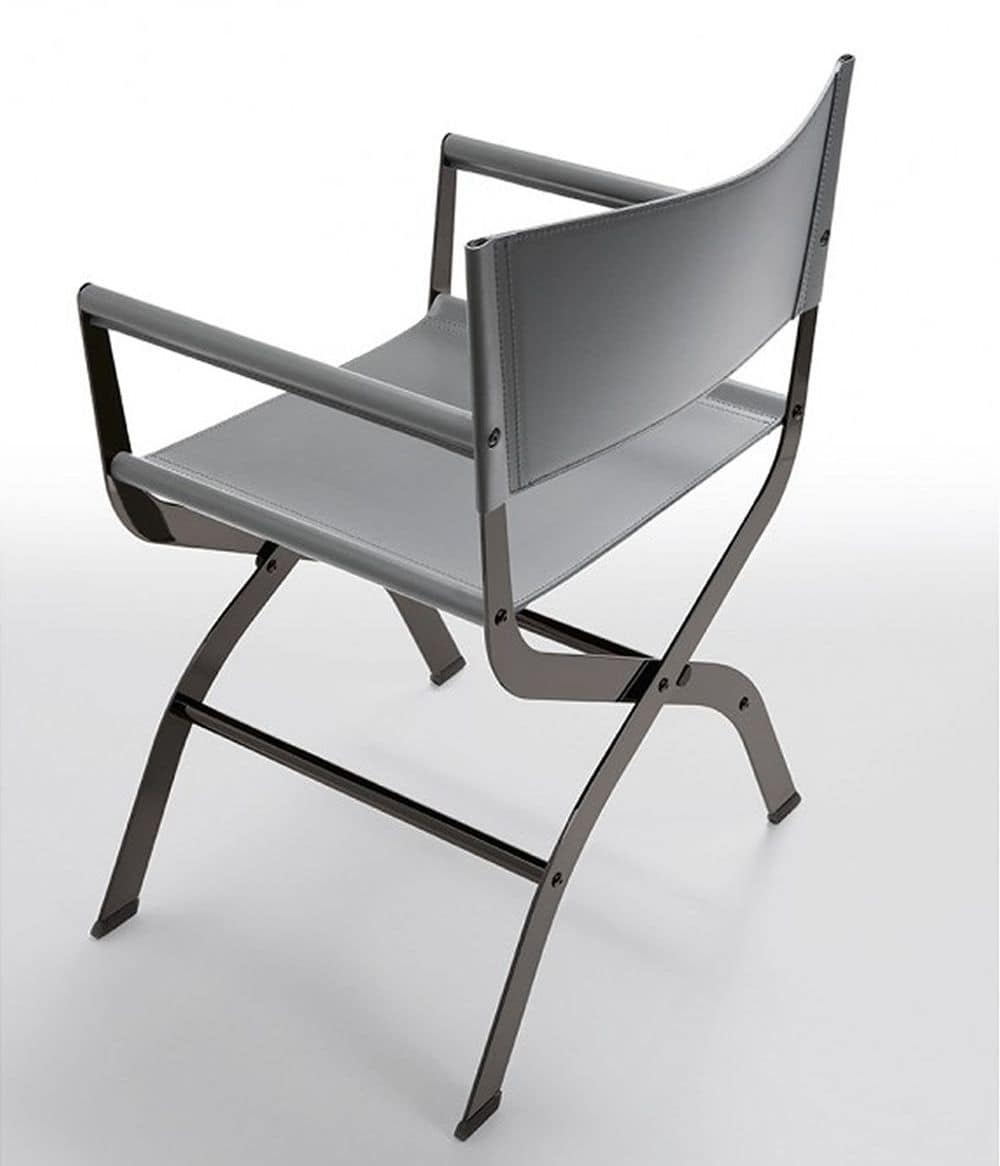 Sedia da regista in metallo e cuoio naturale idfdesign for Sedie imbottite moderne