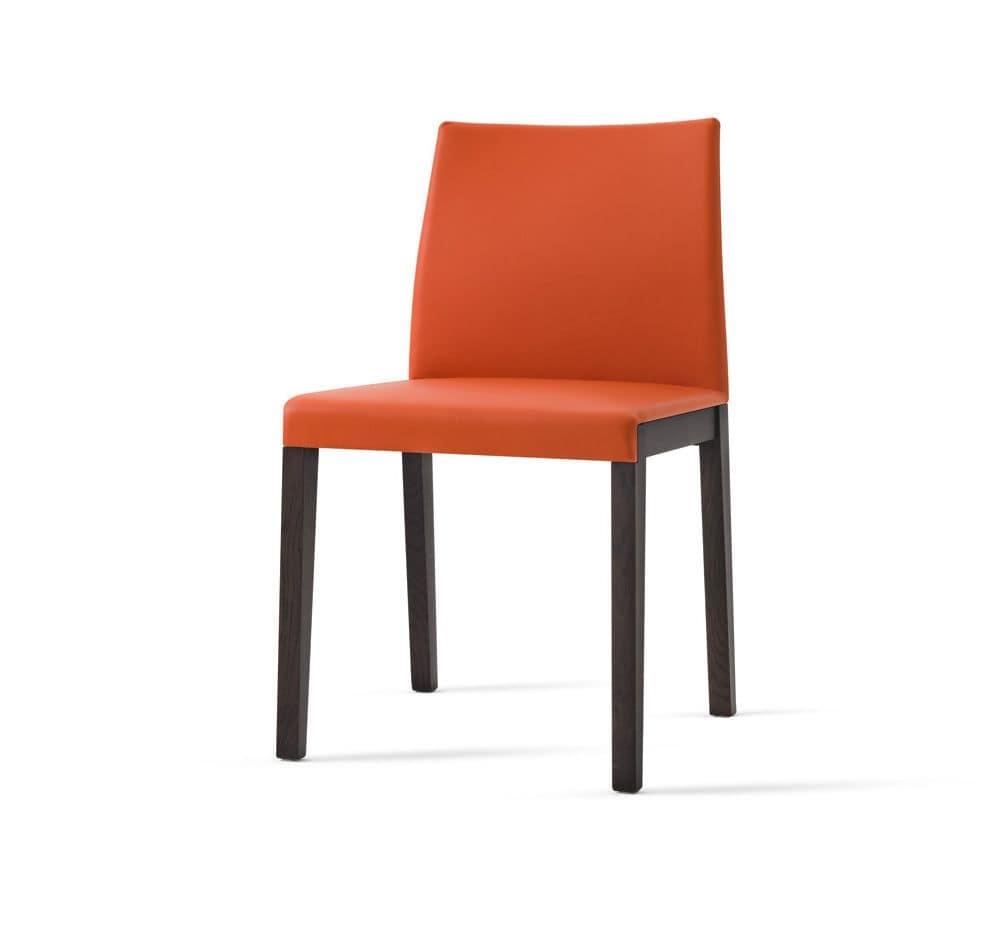 Sedia con schienale e seduta imbottita rivestimento in for Sedie imbottite moderne