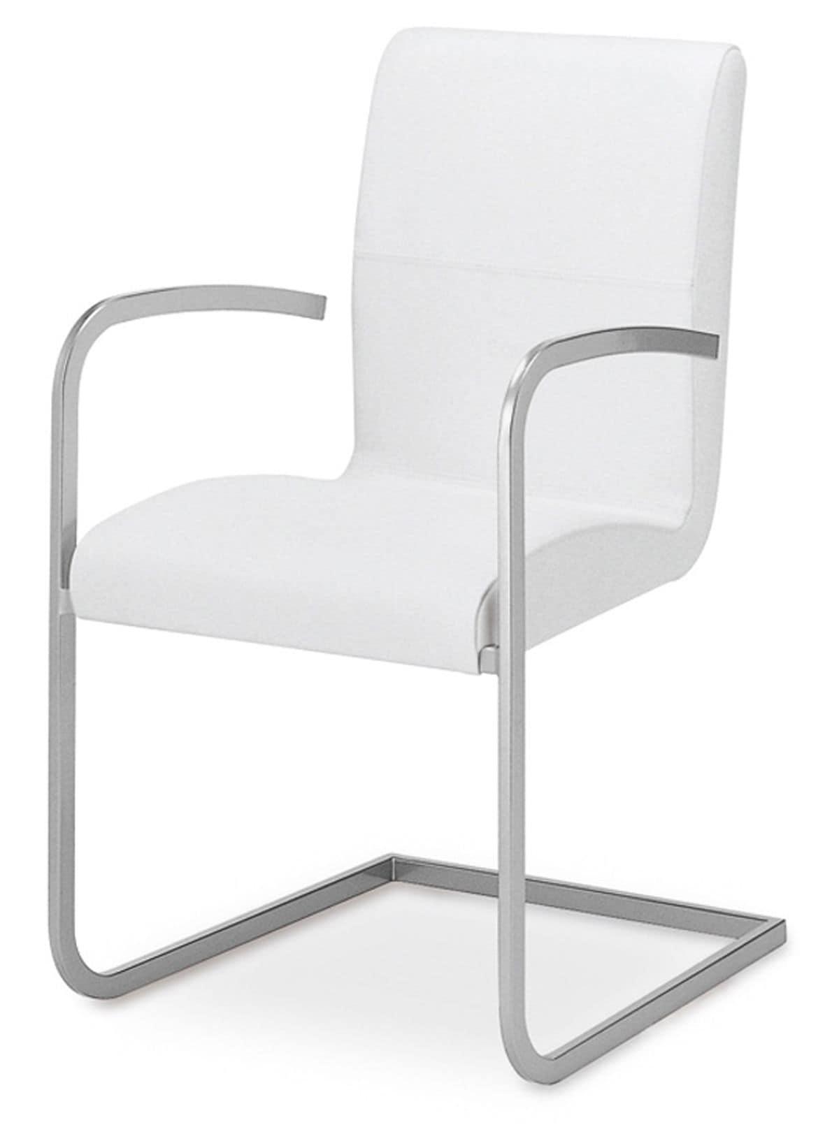 Sedia imbottita con struttura in metallo braccioli e base for Sedie imbottite moderne