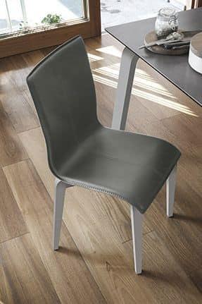 GLAMOUR WOOD SE135, Sedia in legno massello, seduta e schienale imbottiti, in stile moderno