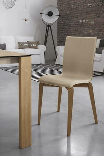 sedia in legno massello seduta e schienale imbottiti in