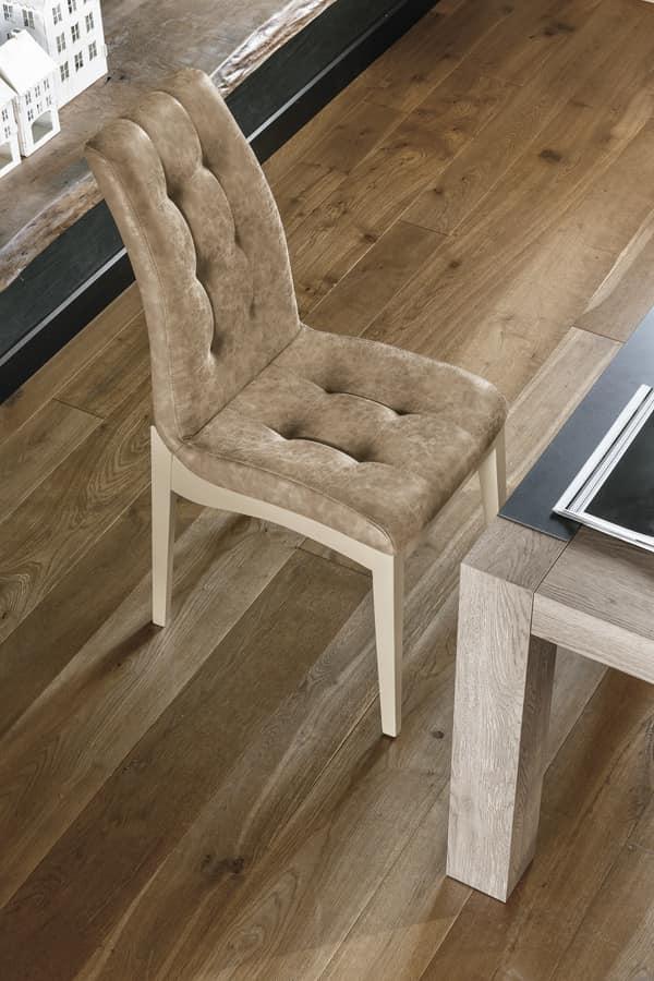GRENOBLE SE180, Sedia in legno verniciato e imbottitura capitonnè