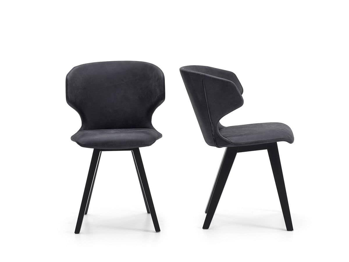 Sedia in legno con scocca imbottita per arredi moderni for Sedie moderne design