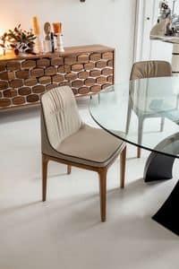 MIVIDA sedia, Sedia morbida in poliuretano, legno e pelle, per ristoranti