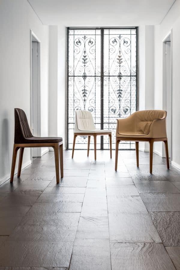 Sedia morbida in poliuretano legno e pelle per for Sedie imbottite per sala da pranzo