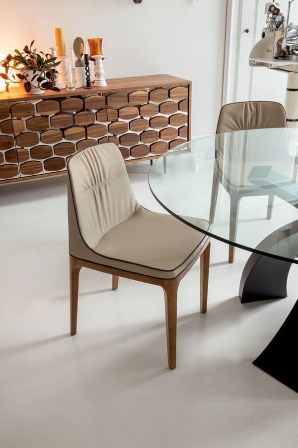 Sedia morbida in poliuretano legno e pelle per for Sedie moderne design