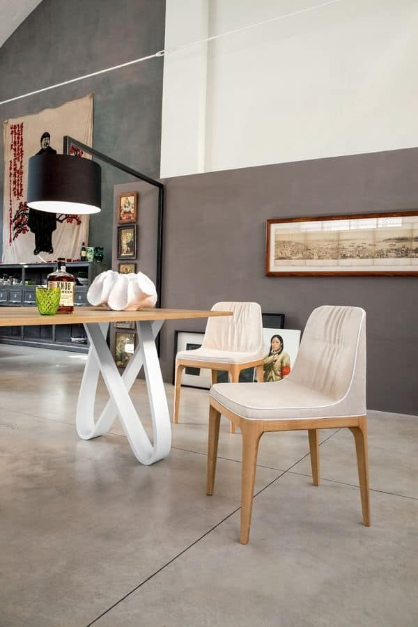 Sedia morbida in poliuretano legno e pelle per for Sedia design srl