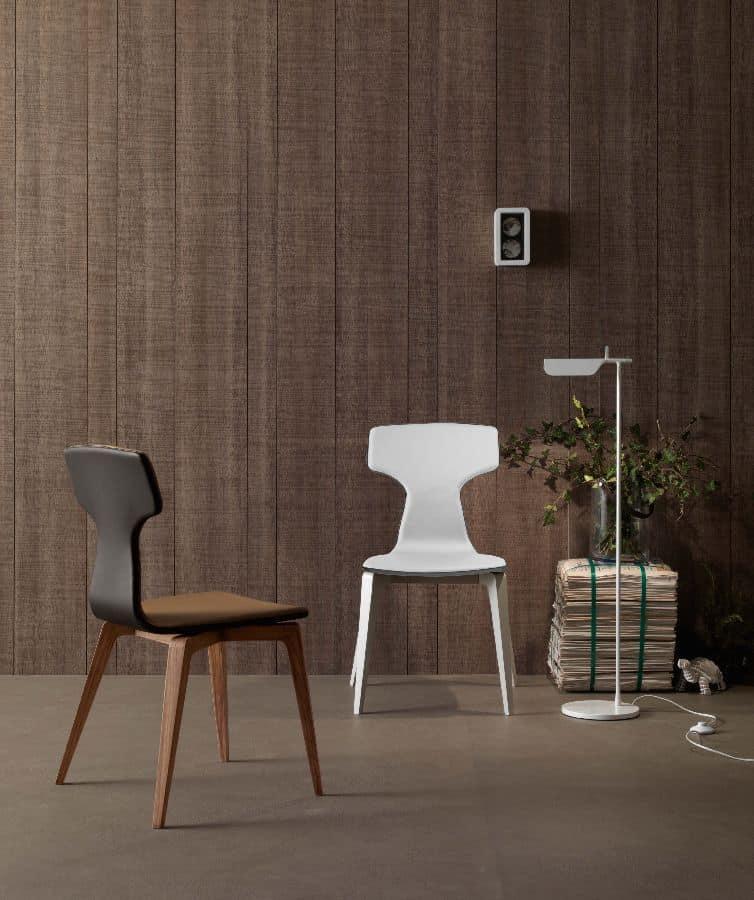 Sedia moderna per sala da pranzo in legno imbottita for Sedie tessuto design