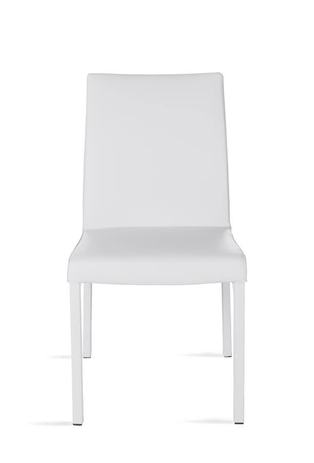 Possagno XL, Sedia con seduta e schienale in pelle, con tubolare quadrato