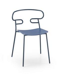 ART. 0047-MET -GENOA, Sedia con sedile in legno e schienale forato