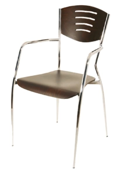 PL 103, Sedia in legno con gambe in metallo cromato