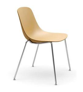 Pure Loop, Sedia con gambe in acciaio cromato