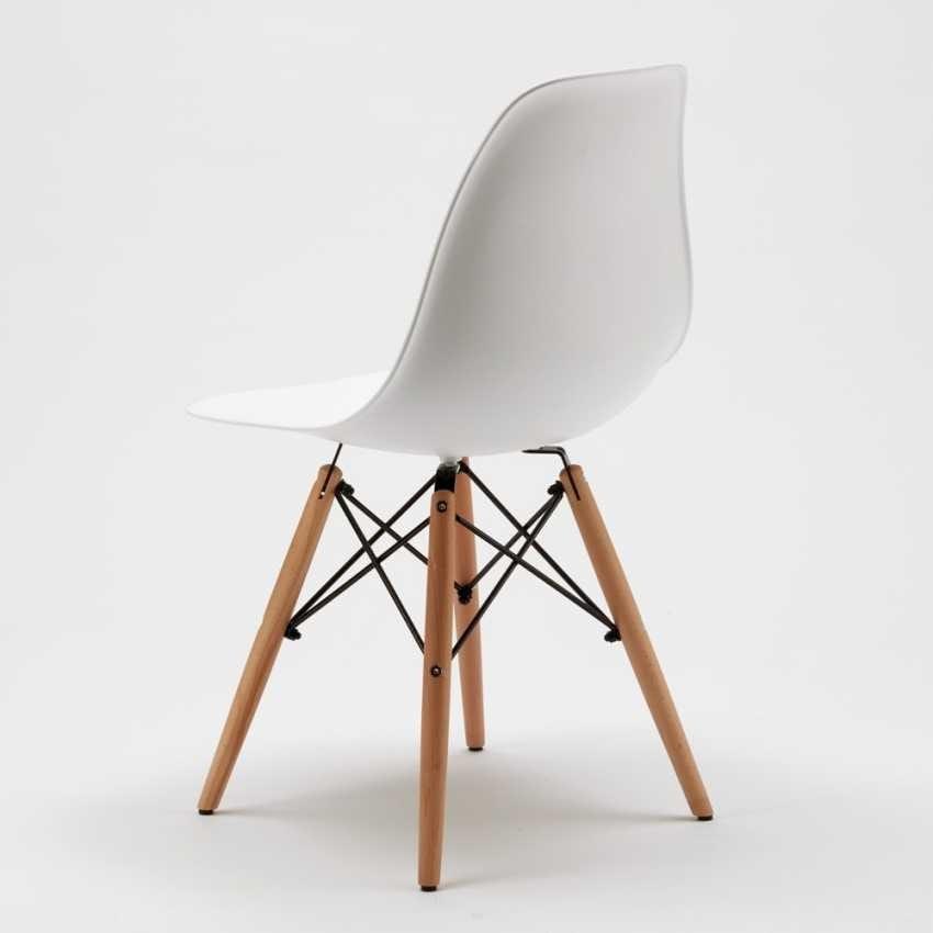 Sedie DSW WOODEN Eames Design cucina bar sala d'attesa e ufficio legno polipropilene - SD638PP, Sedia in polipropilene con gambe in legno