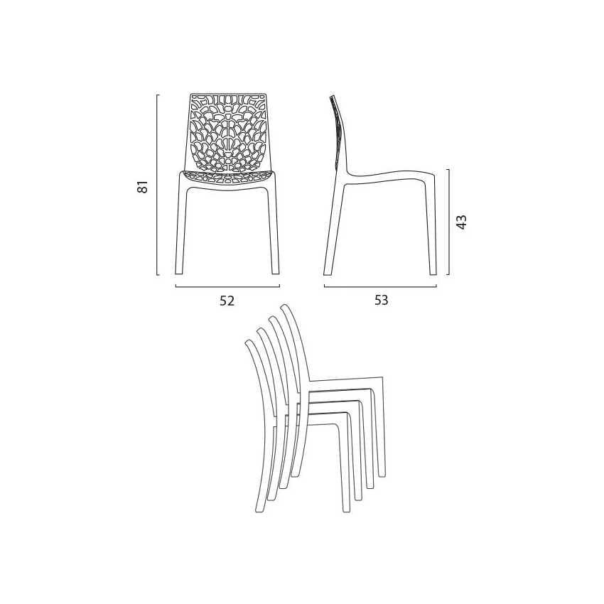 Sedie policarbonato trasparente cucina bar GRUVYER Grand Soleil - S6316TR, Sedia per cucina in policarbonato trasparente