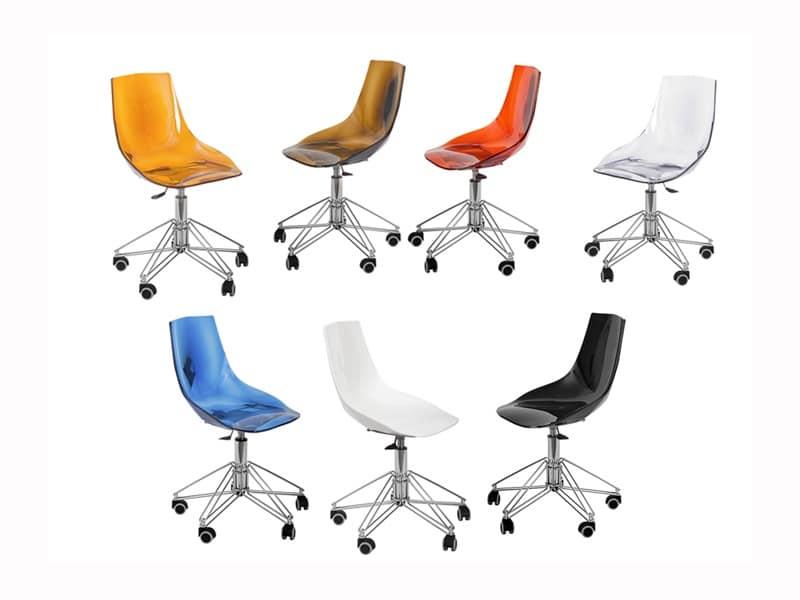 Sedia semplice in plastica con ruote per ufficio moderno for Sedia design srl