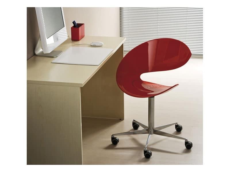 Sedia per ufficio girevole base in metallo con ruote for Sedie design twist
