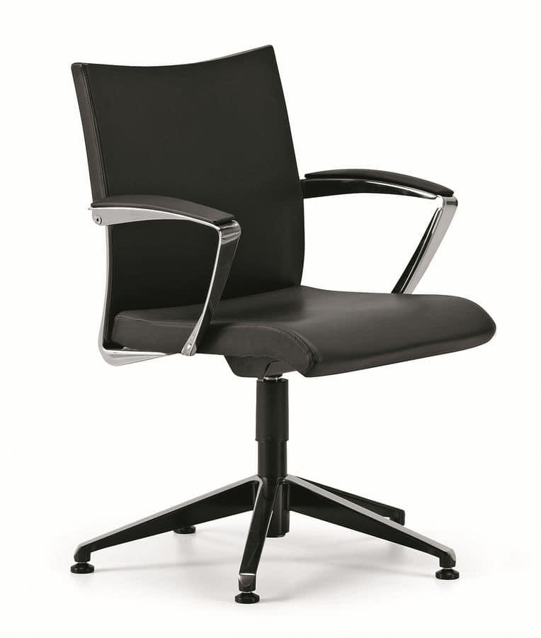 Sedia per ufficio 5 razze con piedini con braccioli for Fenice design sedie ufficio
