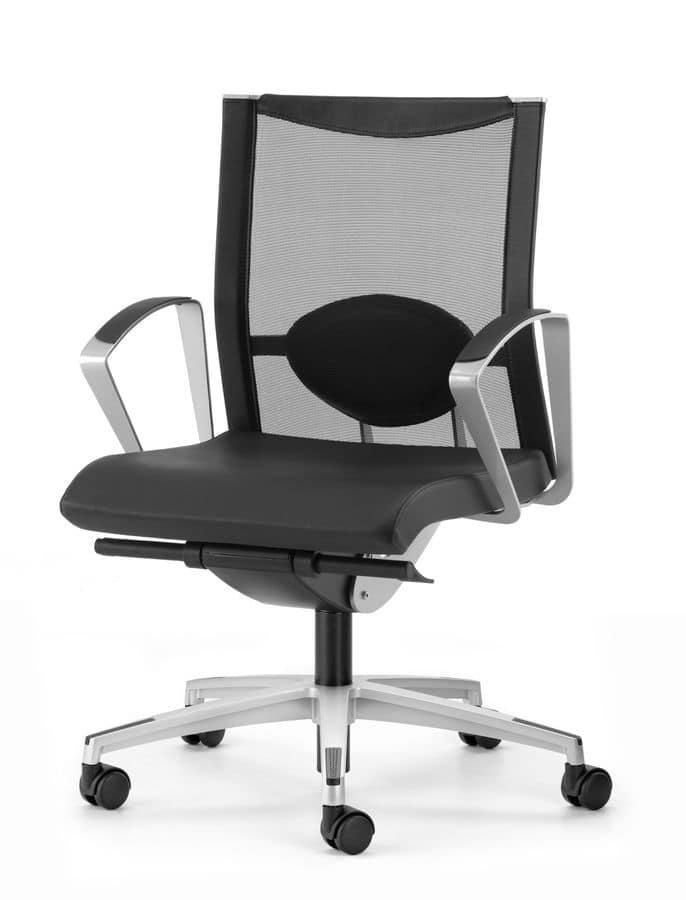 Sedia con 5 razze con supporto lombare per ufficio for Sedie operative per ufficio