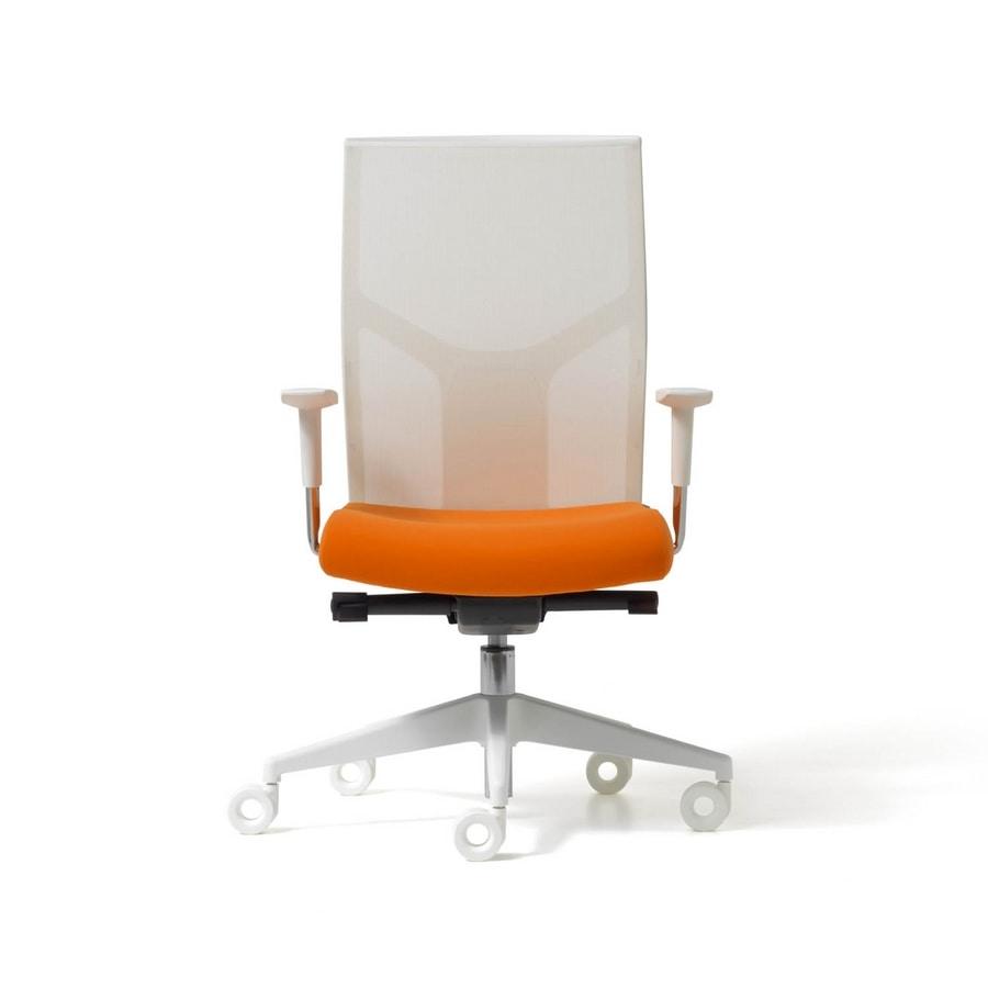 Sedia operativa per ufficio con schienale in rete idfdesign for Sedie per esterno happy casa